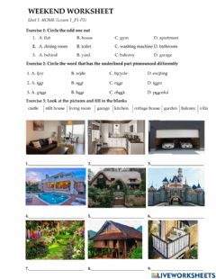 Interactive worksheet English 6-house-ws unit 6-lesson 1