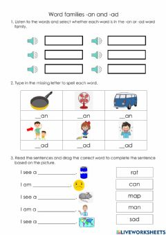 Interactive worksheet Word families -an and -ad