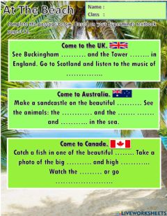 Interactive worksheet Year 2 Unit 9 At the Beach: Country (Reading)