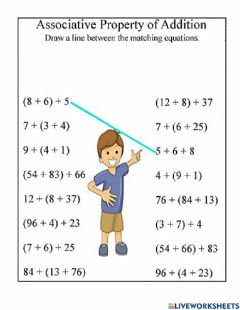 Interactive worksheet Associative property of addition