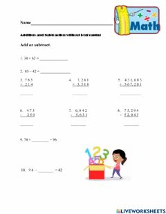 Ficha interactiva Addition and Subtraction Without Regrouping