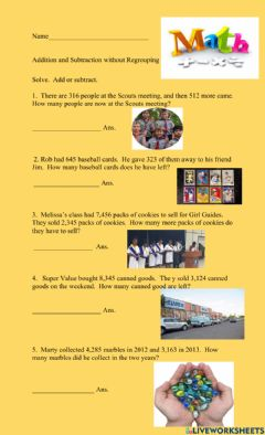Interactive worksheet Addition and Subtraction Without Regrouping Word Problems