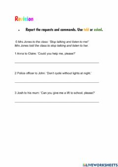 Interactive worksheet Revision - reported commands and requests