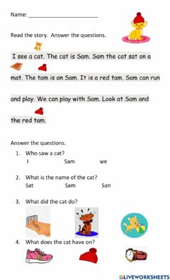 Interactive worksheet Consonants M -S-T and Short Vowel A Reading passage