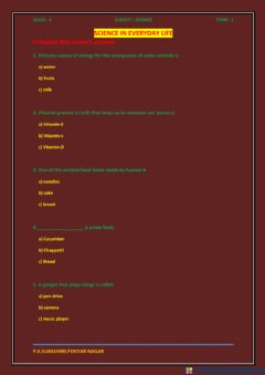 Interactive worksheet Science in Everyday Life, Science, Class - 4