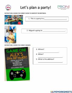 Interactive worksheet Let's plan a party