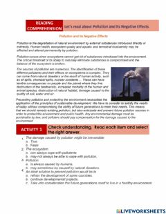 Interactive worksheet Pollution and its Negative Effects
