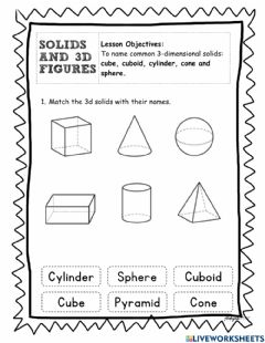 Interactive worksheet Solid and 3D Figures