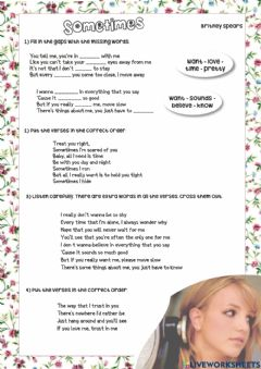 Interactive worksheet Song Time - Sometimes