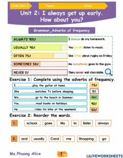 Ficha interactiva E5-U2-I always get up early-Adverbs of frequency