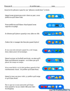 Interactive worksheet French weather, activities, emotions