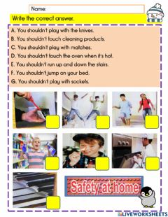 Interactive worksheet English Year 4 module 10 - safety at home