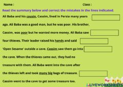 Interactive worksheet Module 10: Reading Time : Ali Baba and the Forty Thieves