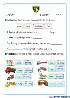 Interactive worksheet Living and Non - living things