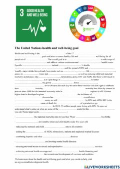 Interactive worksheet UN Health and well-being goal