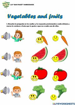 Interactive worksheet Vegetables and fruits