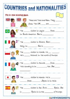 Interactive worksheet Countries and nationalities. Rooftops 5 - Starter Unit