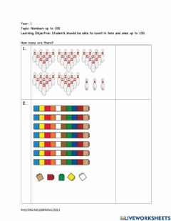 Interactive worksheet Counting to 100