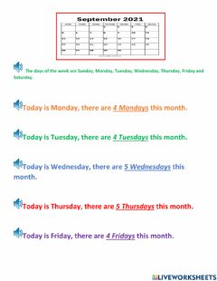 Interactive worksheet Month of September, Days of the week