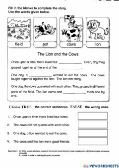 Ficha interactiva The lion and the cows