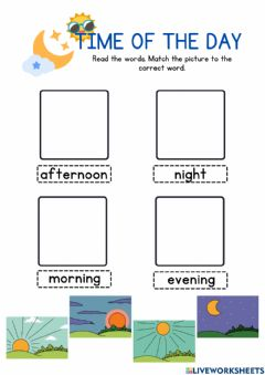 Interactive worksheet Parts of the Day 3