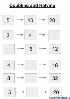 Interactive worksheet Doubling and Halving