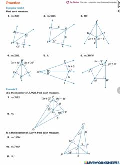 Interactive worksheet Angle bisectors of triangles