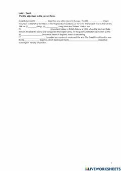 Interactive worksheet Degrees of comparison of adjectives
