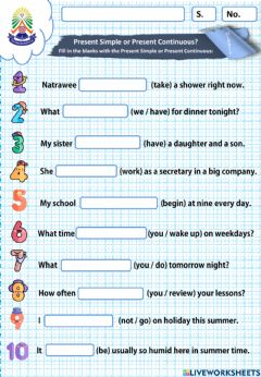 Interactive worksheet Present Simple or Present Continuous Tense
