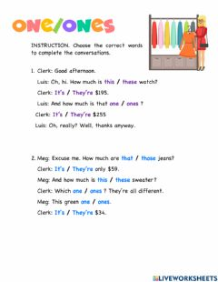 Ficha interactiva Demonstrative pronouns: one and ones