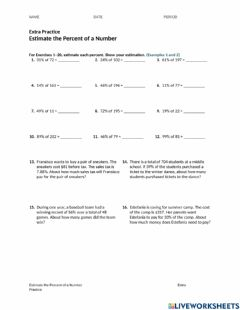 Interactive worksheet Estimate percents of a number