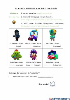 Interactive worksheet Activity 1 Animals or Braw Stars' characters?