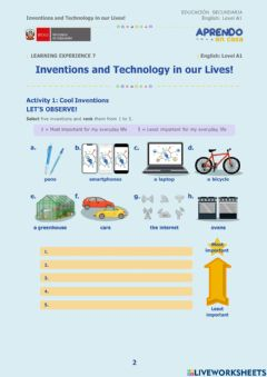 Interactive worksheet Inventions and Technology in our Lives!