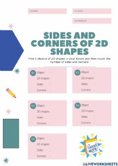 Ficha interactiva Sides and Corners of 2D Shapes