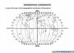 Interactive worksheet Geographical coordinates