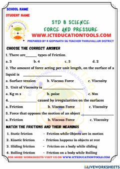 Interactive worksheet Std 8 science force and presure - friction