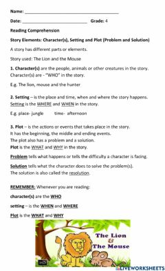 Interactive worksheet Story Elements - Character, Setting, Plot (Problem and Solution)
