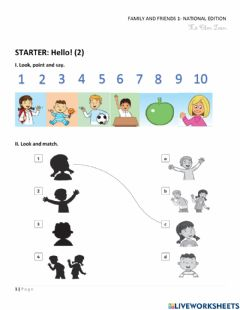 Ficha interactiva Family and Friends 1 - Starter 2