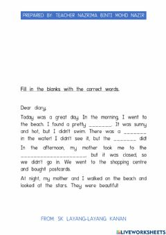 Interactive worksheet Katie's diary about a holiday