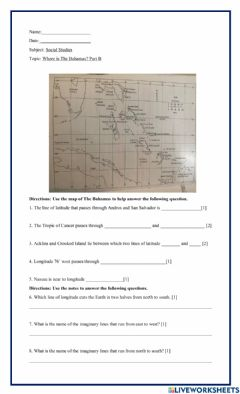 Interactive worksheet Where is The Bahamas? Part B