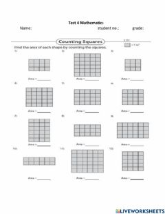 Interactive worksheet Counting the squares