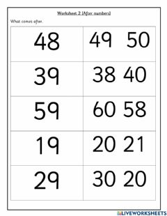 Interactive worksheet After Numbers