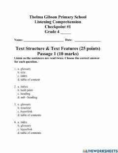 Ficha interactiva Text Structures & Text Features