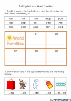 Interactive worksheet Sorting Letter a Word Families