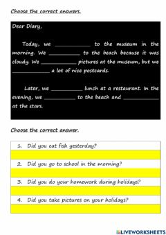 Interactive worksheet Module 9 On Holiday