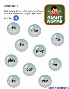 Interactive worksheet Sight word: to