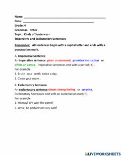 Interactive worksheet Imperative and Exclamatory Sentences- Class Notes
