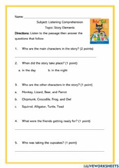 Ficha interactiva Story Elements: Characters and Setting