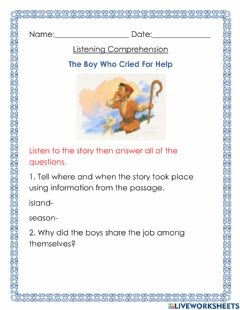 Ficha interactiva Plot and Theme Listening The Boy Who Cried For Help