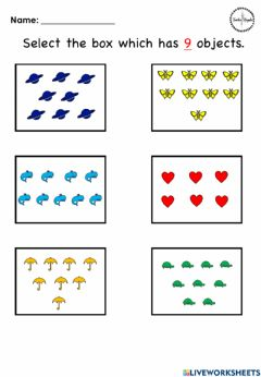 Ficha interactiva Counting objects - 9